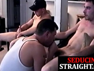 Straight twinks cocksucked by daddy in trio...