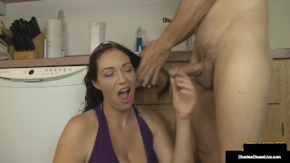 Big bOObed Mommy Charlee Chase Blows Hubby During Shampoo!