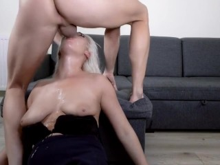Throat bulge deepthroat training with blond milf...