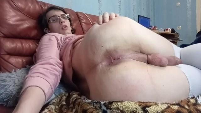 Femboy sissy crossdresser plays with his hole