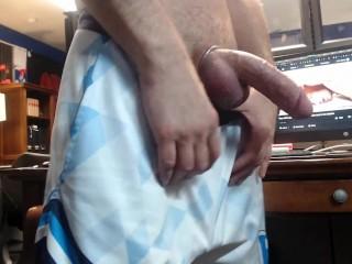 Hung jock in athletic shorts jacking monster cumming...