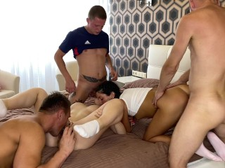 ORGY The girls turned us on and we fucked them in all holes
