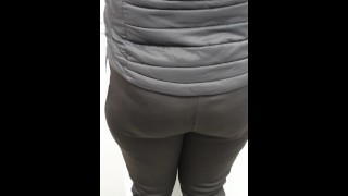 Step mom in black jumpers seduces and fuck step son in the kitchen