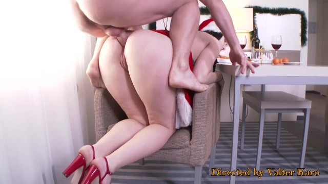 Christmas Anal Fuck - Cute girl with big ass hard fucked in the anal + butt present