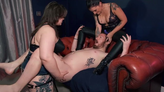 Estella Bathory & Adreena Winters PEGGING a guy FEMDOM STRAPON adult toys double domme pornstars 17