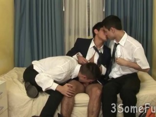 Cute eat meat threesome...