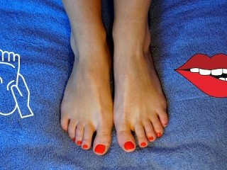 Touching my wrinkled soles after my pedicure feet...