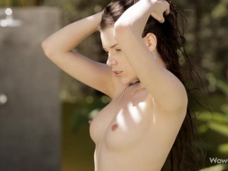 WOWGIRLS PROMO Young hottie Valeria A gets horny while showering outdoors in a posh Ibiza villa.