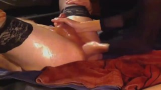 nicki-kinxxx fists her mans booty til he squirts hard, cum and squirt together