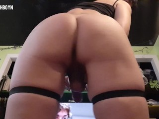 Goth femboy with huge ass...
