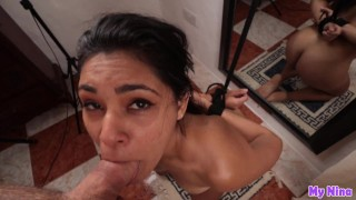 POV Blowjob, gagging deepthroat with hands tied behind her back | My Nina