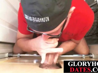 Gloryhole DILF blowing hard dick in POV action
