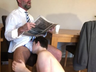 Straight worshipped by younger lad getting ready for...
