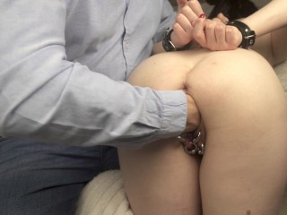Nice slave in handcuffs was fisted with her Master and squirt a lot. 4K