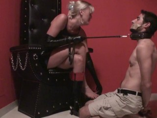 foot slave oscar have to sniff mistress boots and feet in dungeon