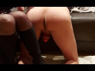 Getting the 8 inch into cuckold hubby. anal fuck.