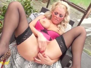 Horny British MILF Fingering Her Wet Pussy In The Garden
