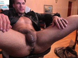 In leather jacket plug and fat cock cumming...