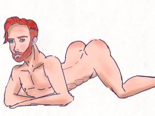 Cartoon gay ginger hunk getting sample process...