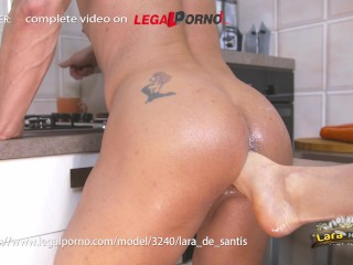 Lara De Santis - pegging fisting foot in ass vegetables anal insertion DAP and swallow - trailer