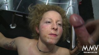 Naughty Dana getting facialized in groupsex