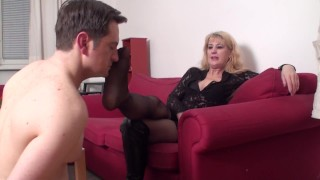 queen andrea want him inhale her nylon foot direct from boots