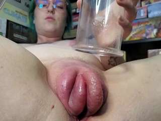 Ivy Fucks Her Oiled-Up Pumped Pussy With Glass Dildos! ASMR cuckold porn homemade