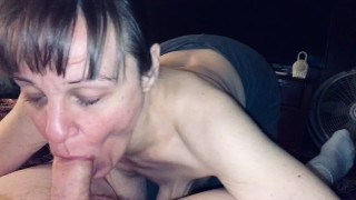 Gilf mother in law sucking me dry and showing cum and swallowing.