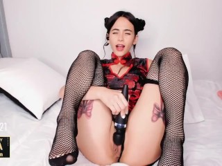Gia_Baker Chinese doll gets tease while someone controls her toy