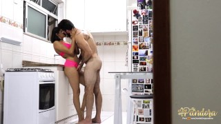 A very hot fuck in the kitchen. Sit in the next room and look!
