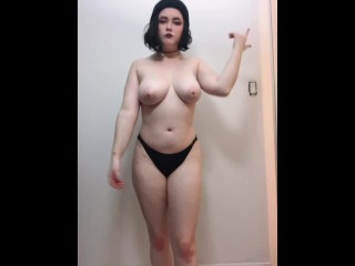 Big Tiddy Goth girl strip tease