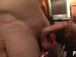 Cock sucked deep by tattooed man...
