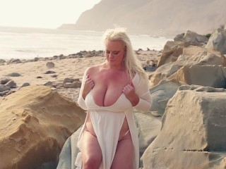 Bbw with pierced nipples teasing ginger pussy beach...