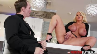 PORNSTARPLATINUM Busty Blonde MILF Alura Jenson Masturbates