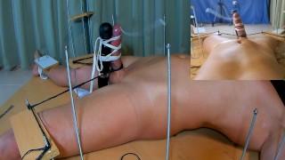 Amateur Femdom CFNM Handjob. I Tickled his Feet Twice. He Cum with Vibrator. Post Orgasm Torture