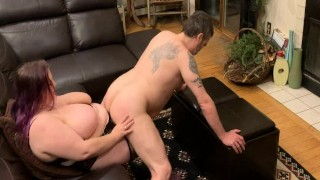 Sliding my ass on the wife's big strapon cock showing her how I work a hard cock
