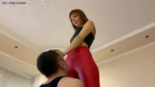 [PREVIEW] Goddess Kira In Leggings Tries Extreme Positions in Which Slave Should Worship Her Pussy