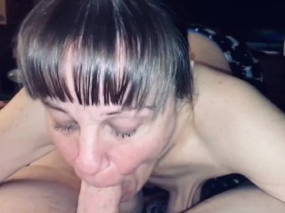 Granny's very happy to have young meat! She sucks the life out of him and swallows