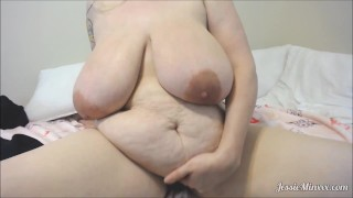 BBW with HUGE tits plays with Vibrator