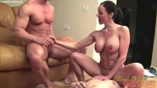 Fit porn star Kendra Lust fucks two studs