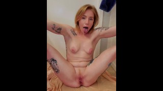 Milf pees and spits on herself wishing for your cum!