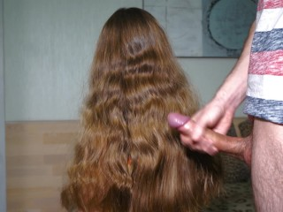 Hair Fetish. Jerked off and cum on beautiful hair. Cum on Foxy's hair.