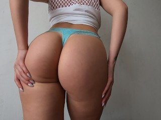 A young beauty puts on sexy panties and shows her gorgeous pussy and big ass. Homemade