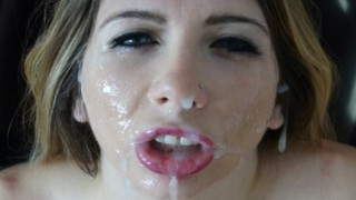 Hard mouth fucked upside down, cum in mouth.4KHD