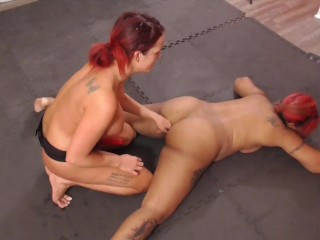 Academy catfight and dominates with dildo fucking finger...