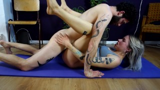 Fucking is the best exercise! Yoga session interrupted by his big hard cock