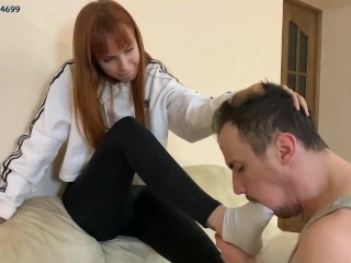 Girl Makes a Slave Sniff Her Sweaty Socks and Puts Them in His Mouth [PREVIEW]