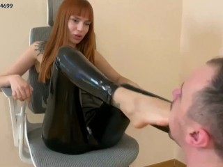 Cruel Young Mistress In Latex - Deep Foot Gagging Domination [PREVIEW]