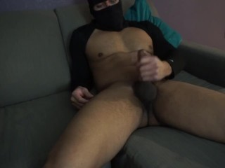HARD INTENSE ORGASM CUMSHOT Masked Black guy jacking off moaning and talking dirty