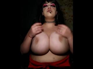 Smoking fetish huge natural tits